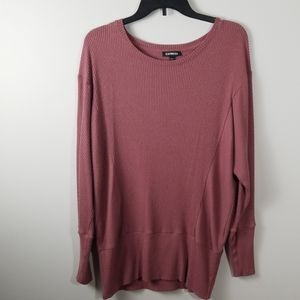 Express Dusty Rose Soft Ribbed Sweater Size M